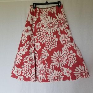 Boden floral red/white cotton skirt size 10L